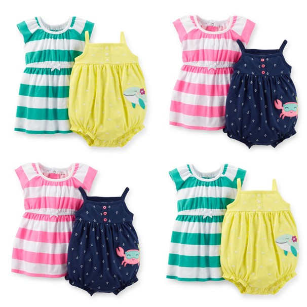 2015 New Carters Baby Girls Summer Seaside 2 Pieces Sleeveless Bodysuit And Dress Crab Or Fish Model Clothing Set,Freeshipping<br><br>Aliexpress