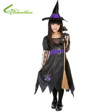 Girls Halloween Costumes Black Witch Dress & Hat Set Spirit Cosplay Stage Wear Clothing Kids Masquerade Party Fancy Ball Clothes