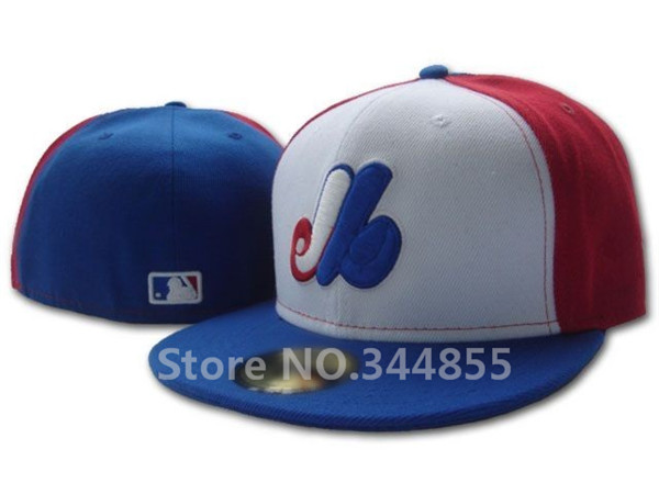 Classic Montreal Expos Baseball Fitted Hats Men's Flat Full Closed Size Caps Logo Embroidery White/Blue/Red Color(China (Mainland))
