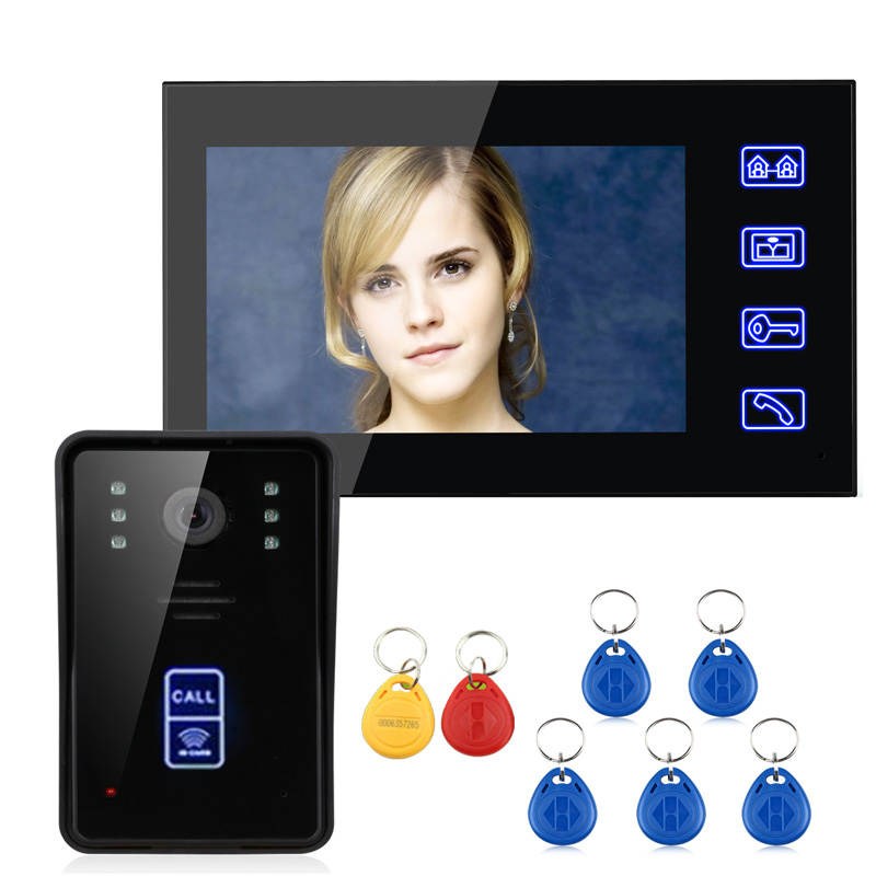 "FREE SHIPPING ENNIO 7"" RFID Video Door Phone Intercom Doorbell Touch Button Remote Unlock Night Vision(China (Mainland))"