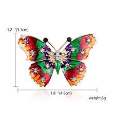 Paduan Ungu Enamel Kupu-kupu Bragonfly Burung Bros Pria dan Wanita Logam Berlian Imitasi Serangga Perjamuan Pernikahan Bros Hadiah(China)