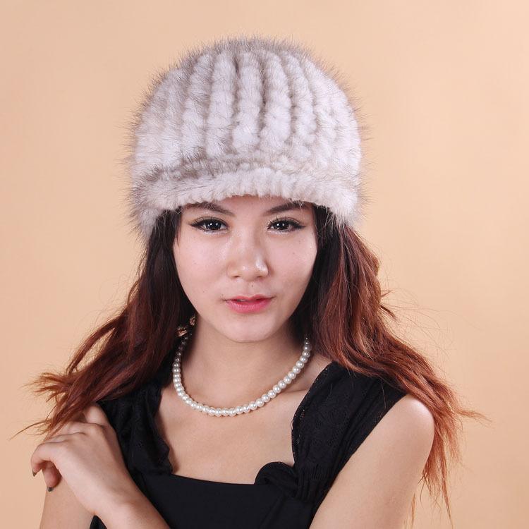 Winter Fashion Newsboy Caps Hot Sale 100% Top Quality Women's Cap Real Mink Fur Knit Hat Geniune Fur Headgear(China (Mainland))