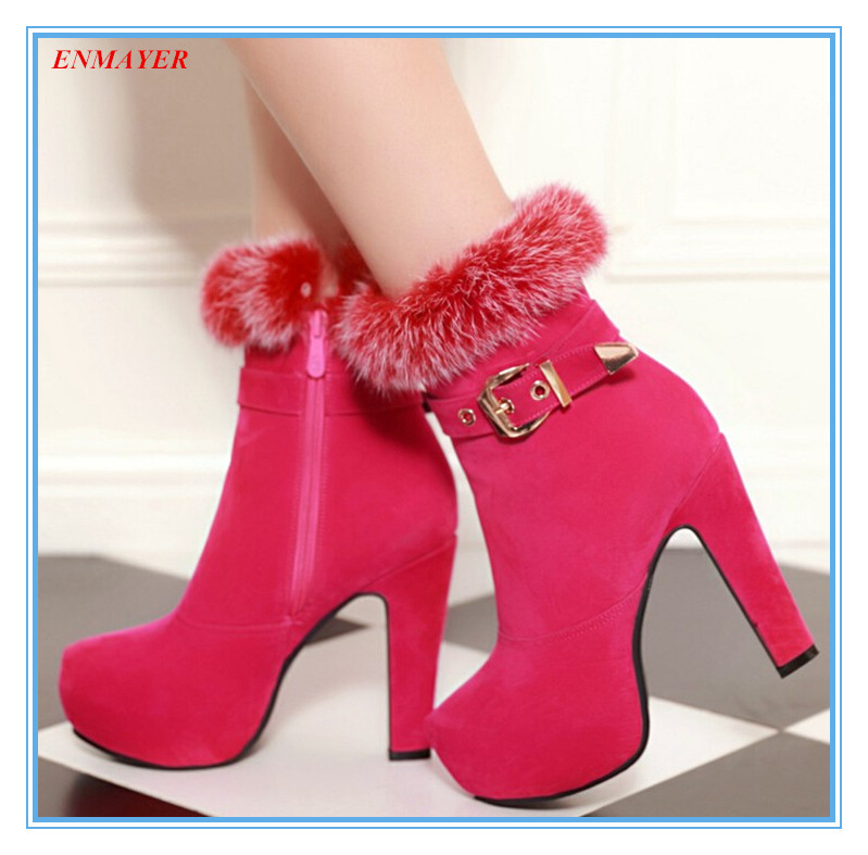 ENMAYER Free shipping sexy solid Fashion boots zip+lapel wool high heel shoes for girl warm shortplush inside winter boots  <br><br>Aliexpress