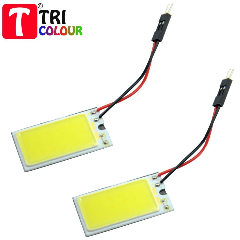 TRICOLOUR 10X Car Dome light COB 18 chips 40*20mm LED Ba9s Festoon T10 adapter Car Panel Reading Interior light 12V white #LL16(China (Mainland))