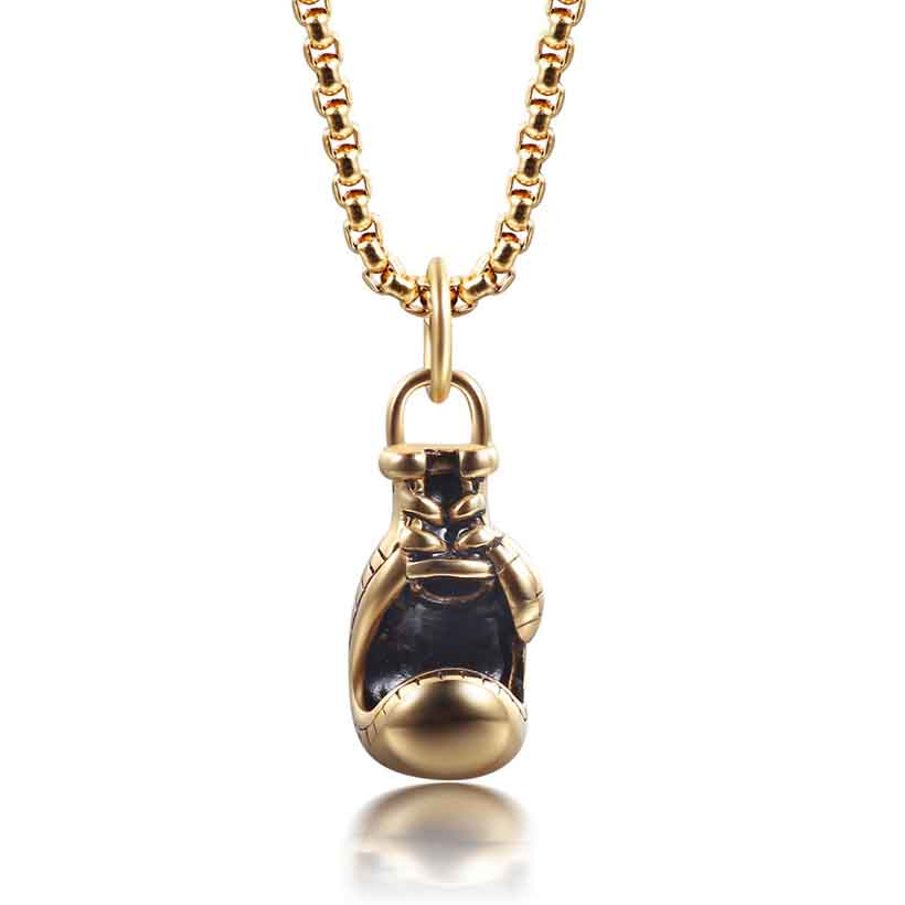 2016Fashion Jewelry Gold Silver Black Chain Motion Boxing Glove Pendant Necklace Choker Men Necklace Vintage Necklaces For Women(China (Mainland))