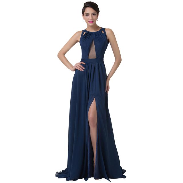 Грейс карин 2016 со спинки синий формальное вечернее платье халат де вечер сексуальная ...