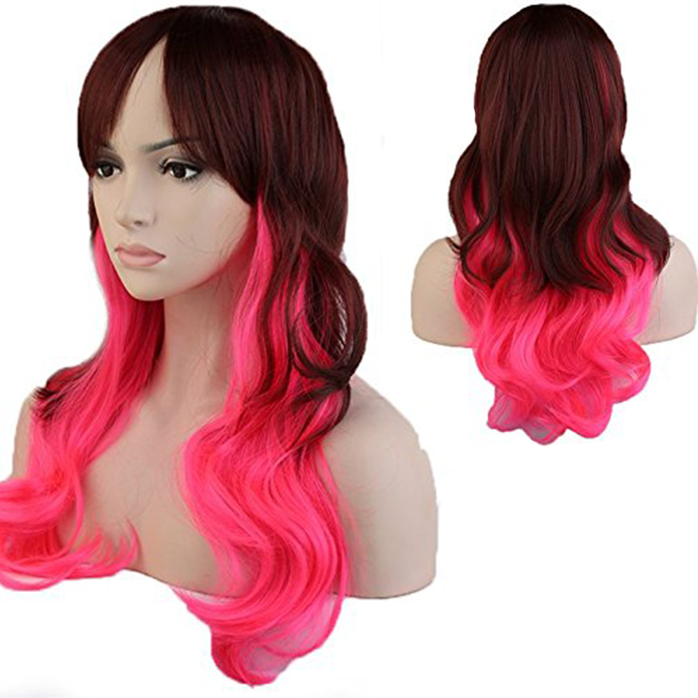 """24"""" Cosplay Wig Long Hair Brown Pink Mix Synthetic Hair Wigs Fancy/party Costume(China (Mainland))"""