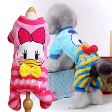 Autumn Winter Pet Dog Clothes Jumpsuit Lovely Donald Duck Dog Costume Puppy Chihuahua Clothing Pink Blue XXS XS - L Hot Sale(China (Mainland))