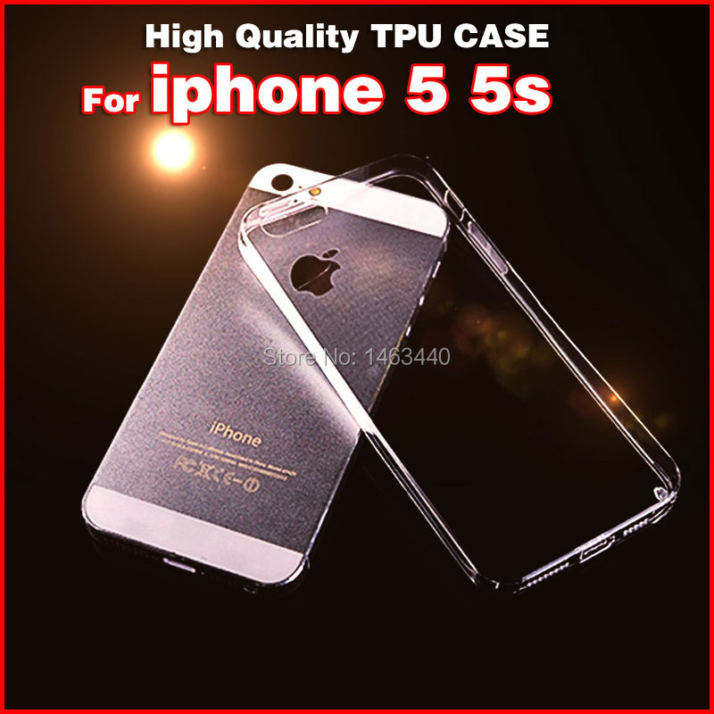 Ultra Thin TPU soft capa For apple iphone 5s 5 s skin back case Pure Style phone cases Transparent clear Cover Kimisohand(China (Mainland))
