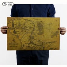TIE LER Vintage Middle Earth Map On The Lord of The Rings Poster Home Decor Wall Sticker 51x35.5cm Retro Kraft Paper(China (Mainland))