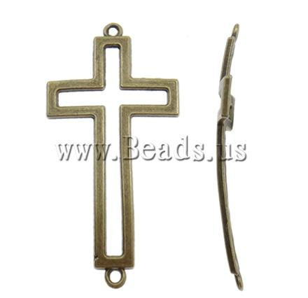 Free shipping!!!Cross Zinc Alloy Connector,creative jewelry, antique bronze color plated, 1/1 loop, nickel, lead & cadmium free(China (Mainland))
