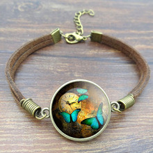 Vintage Steampunk Clock Butterfly Picture Bracelets & Bangles Glass Cabochon Brown Rope Charm Bracelets for Women Jewelry 2016