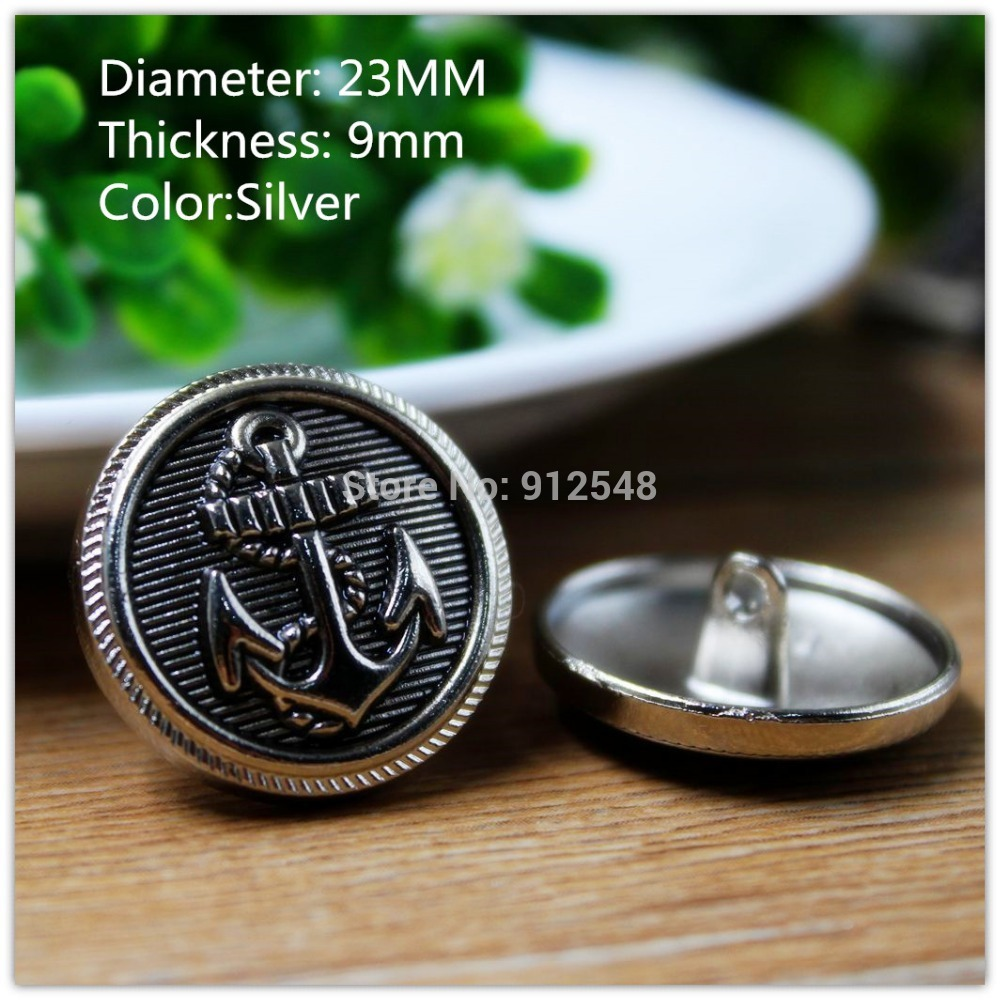 15418168,10pcs, 23mm Classic fashion Silver Anchor metal buttons, DIY handmade materials, Clothing accessories(China (Mainland))