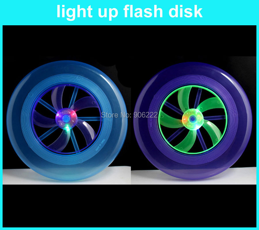 (3 pieces/lot) D282232002 Plastic 23cm LED Light-Up flying disc frisbee(China (Mainland))