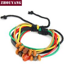 National Style Wood Beads Hemp Rope& PU Bracelet Fashion Jewelry For Man And Women PU012 PU013 PU014(China (Mainland))