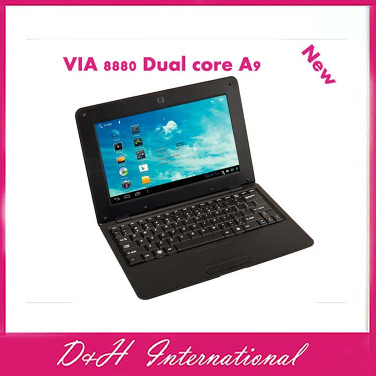 "2014new 10 inch Mini Dual core Netbook with HDMI Slot VIA WM8800 512,4GB android 4.2 RJ45 10"" Mini laptop Free drop shipping(Hong Kong)"