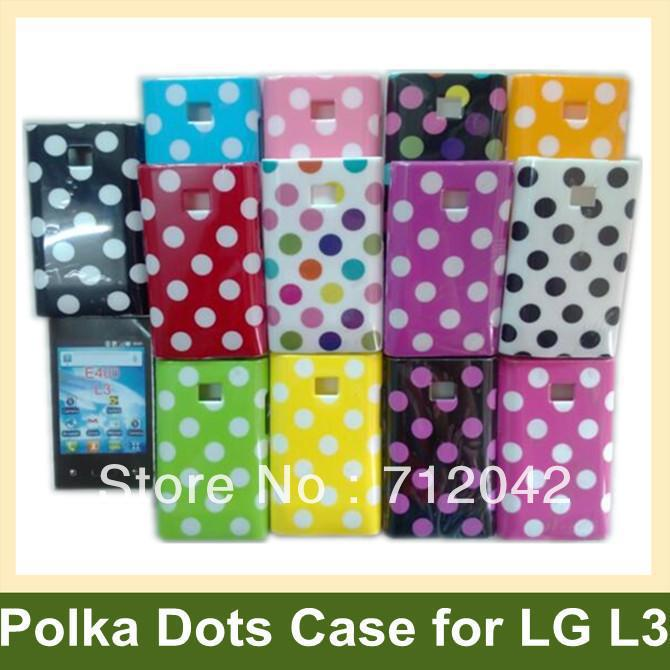 Cool Polka Dots Cover Case for LG L3 E400 Plastic Soft Cover Case for LG E400(Optimus L3) 30pcs/lot Free Shipping
