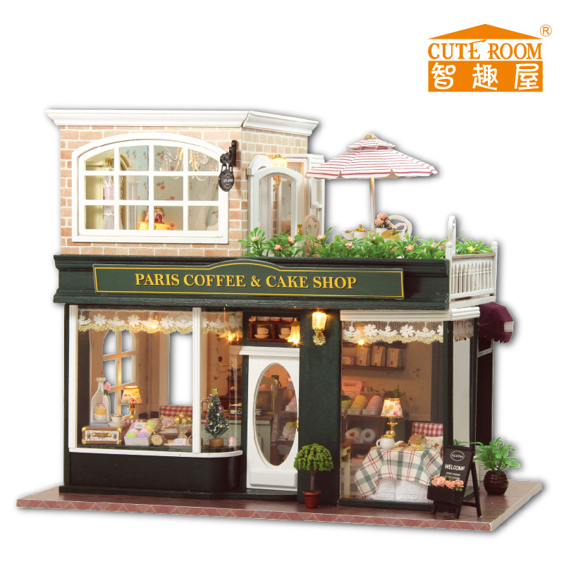 24th DIY Wooden Handmade Doll House 3D Model Kit Miniatures Dollhouse Provence coffee Shop English instruction
