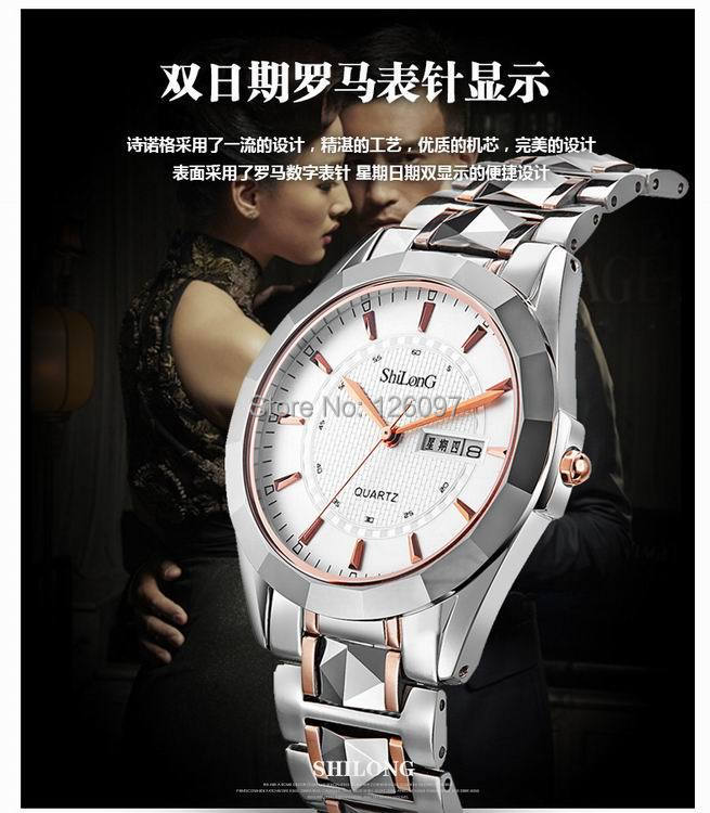 Couples Luxury Tungsten steel Quartz watches waterproof and calendar lovers watch/8030G<br><br>Aliexpress