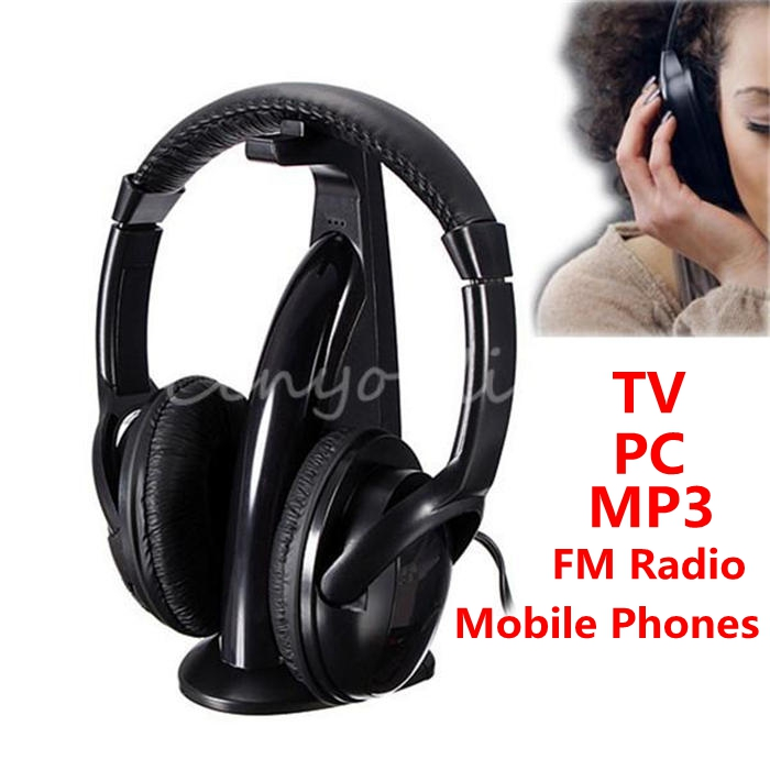 High Quality New 5in1 Wireless Audio-chat Headphone Earphone HiFi Monitor FM MIC for PC TV DVD Audio Mobile Wholesale Price(China (Mainland))