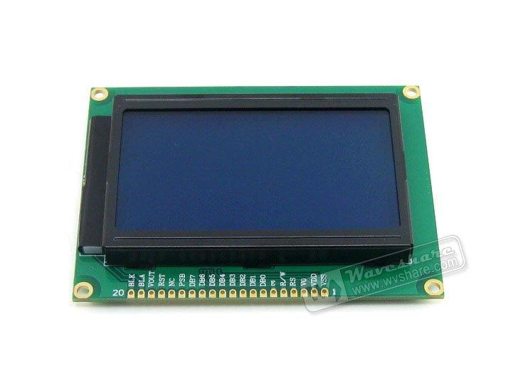 3.3V 12864 Graphic Matrix LCD Module 128x64 dots ST7920 / ST7921 IC TN/STN Blue Backlight White Character