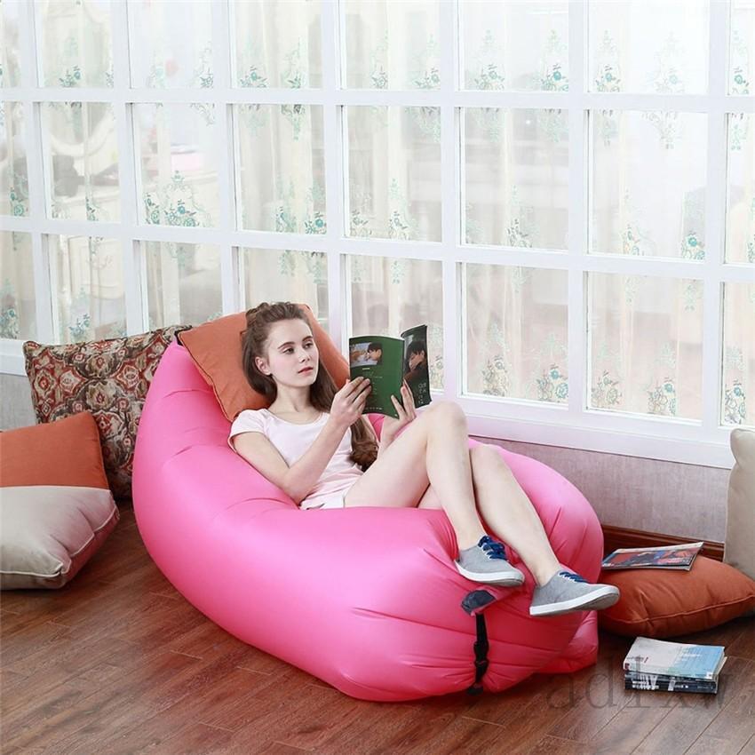 1pc Beach Portable Outdoor Inflatable Bone Furniture Sofa Hammock Sleeping Camping Air Bed Nylon Lazy Air Sofa Bag(China (Mainland))