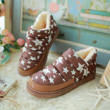 2016 mujer de la alta calidad más el tamaño 35-43 estrella de piel caliente botas impermeables para mujer de la nieve del invierno cargadores de las señoras zapatos planos(China (Mainland))