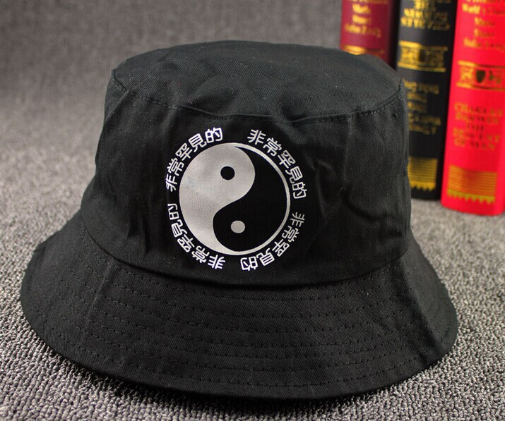 Summer vintage outdoor fisherman cap Japanese Chinese Letters cotton Yin & Yang sad boys print bucket hat hip hop man women - 90s Fashion store