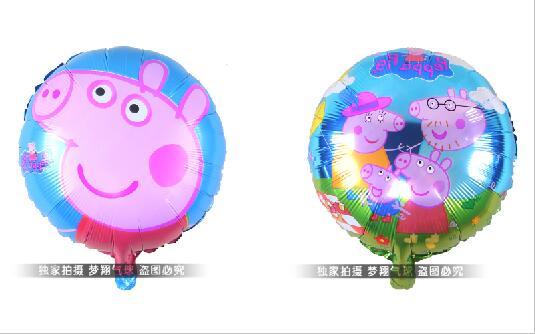 Free shipping18inch pig design cartoon balloon helium balloon children toy balloon mix designs(China (Mainland))