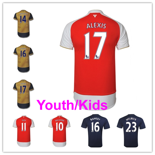 Youth 15/16 Home Away 3rd Soccer Jersey CECH Wilshere Ozil Walcott Ramsey Alexis Sanchez Welbeck Kids 2015 2016 Custom All Name(China (Mainland))