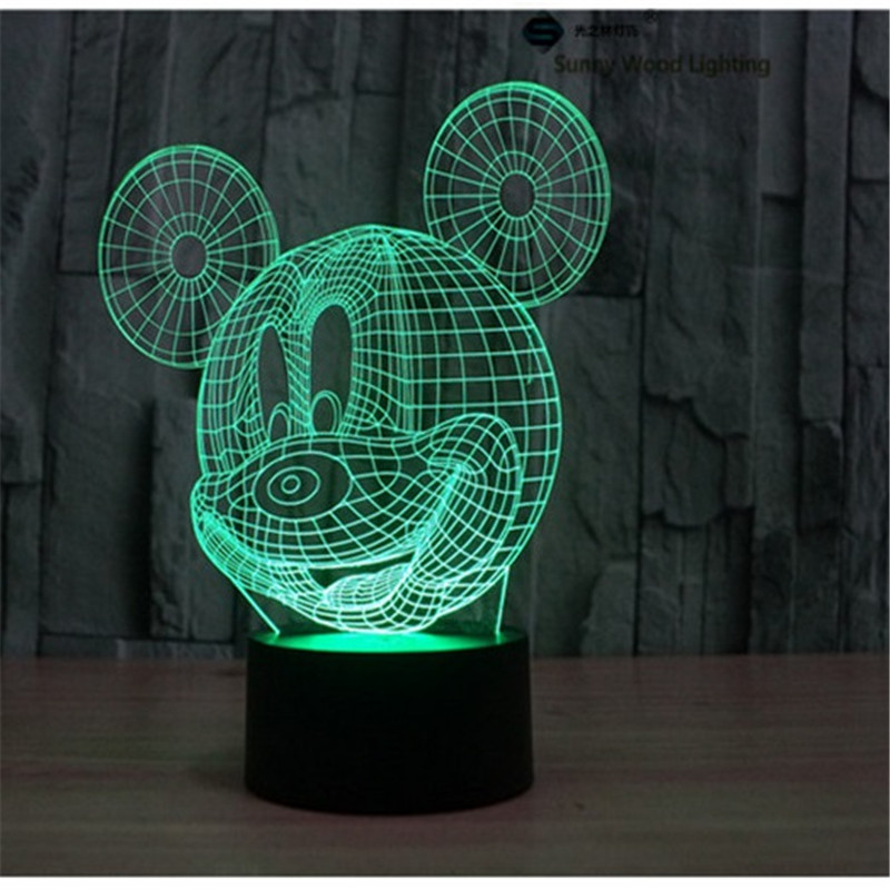 Mickey touch switch LED 3D lamp ,Visual Illusion 7color changing 5V USB for laptop, desk decoration cartoon toy lamp(China (Mainland))