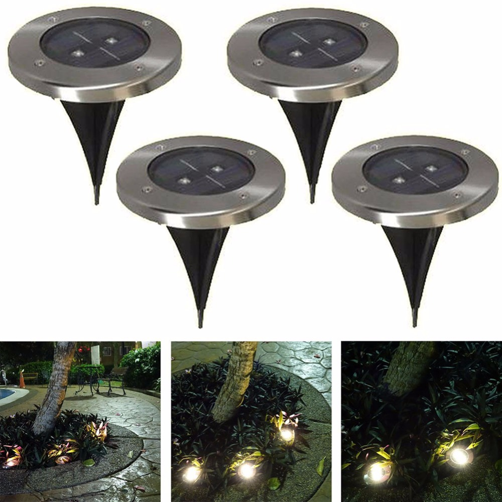 5PCS Garden 2 LED White Yellow Solar Powered Ground Light Outdoor Patio Lawn Waterproof Porch Walkway Lamp eclairage exterieur(China (Mainland))