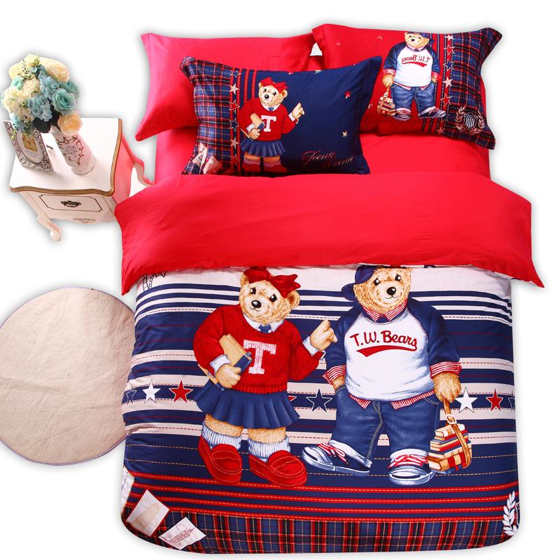 100 cotton Good quailty kids teddy bear red font b tartan b font bedding set king