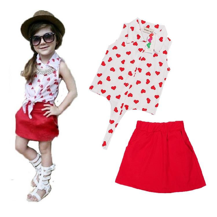2016 Summer NTYSX kids Girl's clothing sets Children's clothing baby girl child heart chiffon Shirts/blouse+ red dress f1800(China (Mainland))