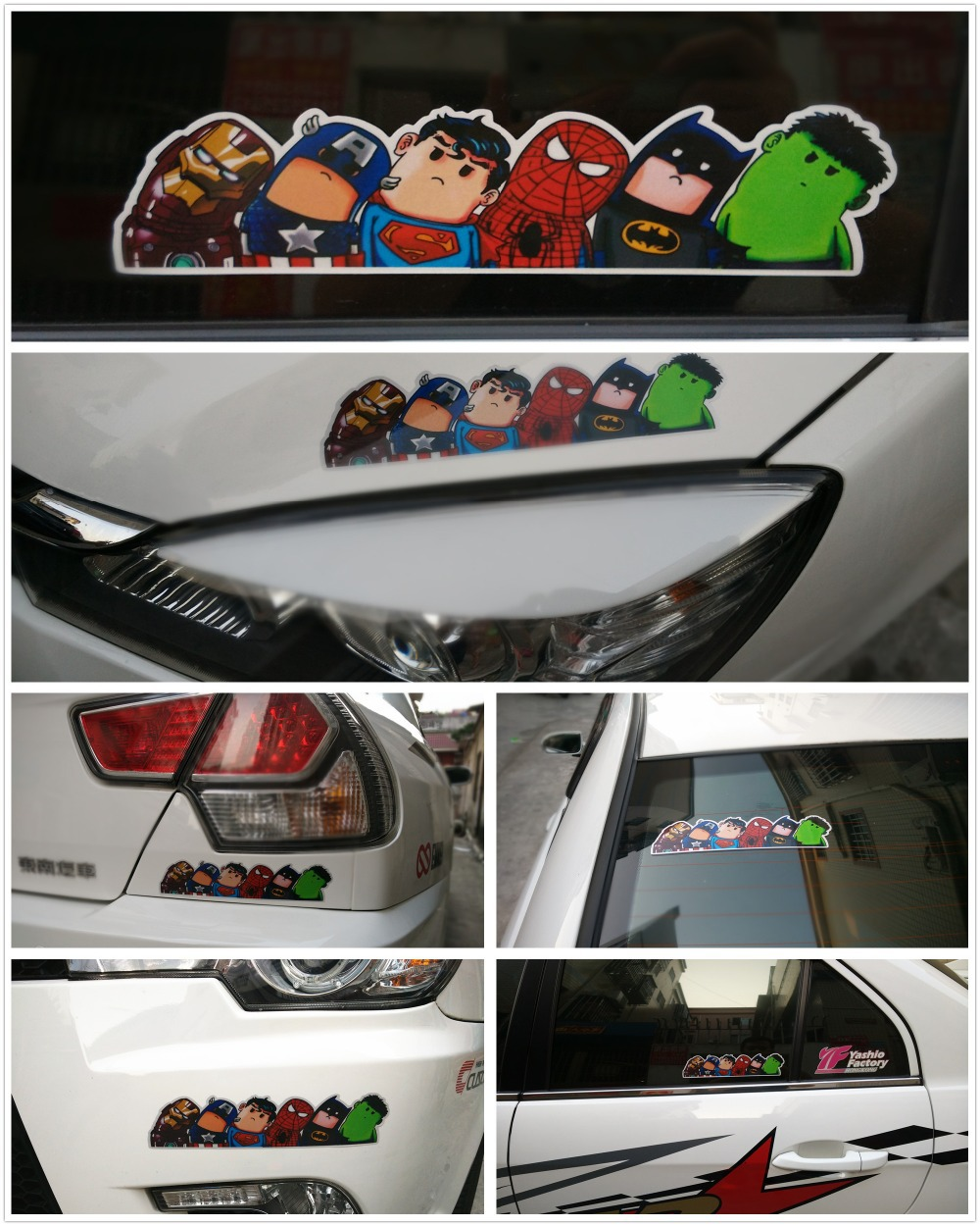 Super Hero Hitchhike Save The World Car Styling Motorcycle Decal Moto Stickers Funny Cartoon Reflective Car