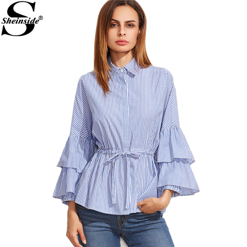 Sheinside Latest Top Designs Fashion Blouses Women Blue And White Striped  Layered Long Sleeve Drawstring Waist. Popular Latest Design Top Buy Cheap Latest Design Top lots from