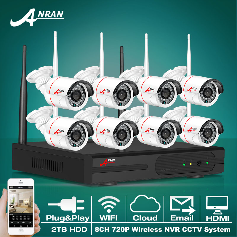 8CH Wireless NVR Kit P2P 720P WIFI IP Camera Outdoor Waterproof 1.0MP HD CCTV Camera System Vedio Surveillance System 2TB HDD(China (Mainland))