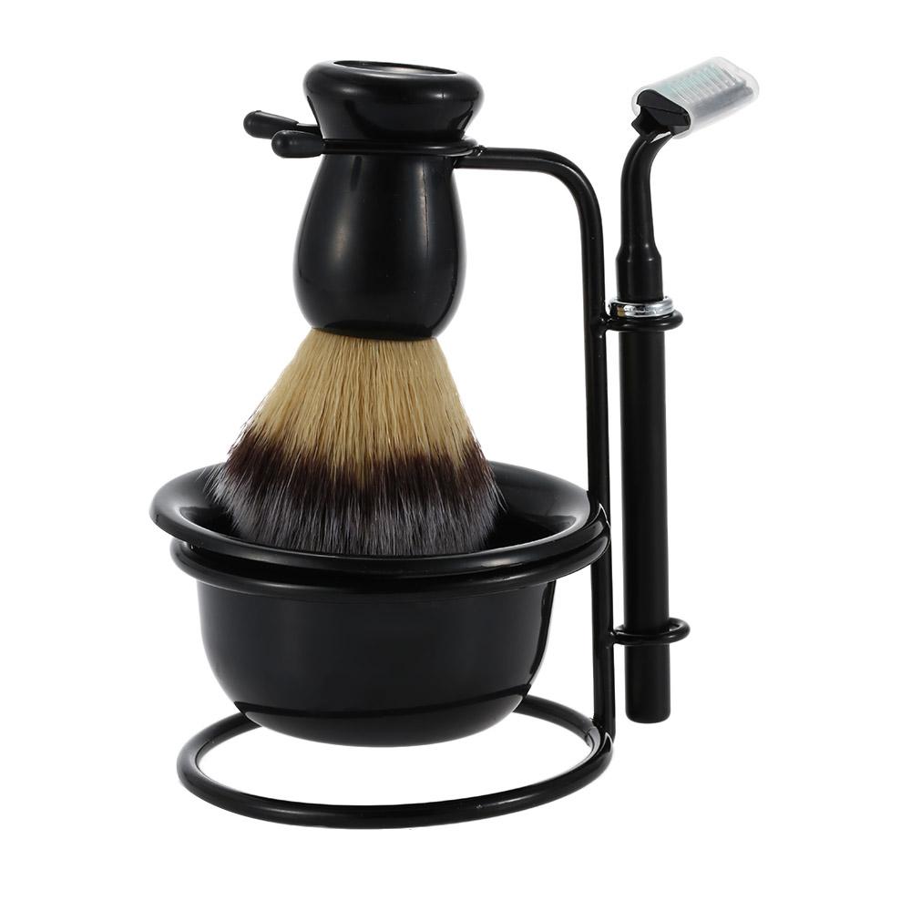 Pro 4 In 1 Men's Shaving Razor Set Shaving Holder+Razor+Soap Bowl+Badger Brush Dry & Wet Male Silver Facial Cleaning Tool(China (Mainland))