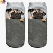 3D Print pug Animal women Socks Casual cartoon Socks Unisex Low Cut Ankle Socks