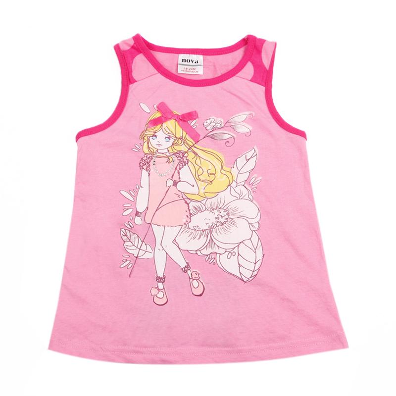 Girl sleeveless t shirt children cotton summer clothing t shirt for girls kids printed cartoon t shirt N6271(China (Mainland))