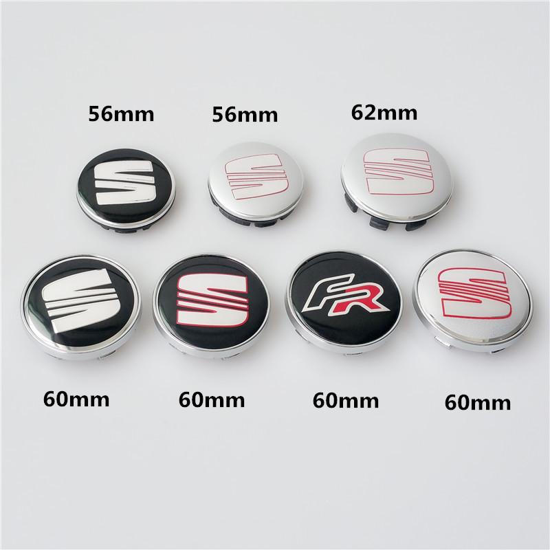 4 x 56mm 60mm 62mm SEAT FR Car Emblem Wheel Center Hub Caps Dust-proof Badge Logo Covers For SEAT Ibiza Leon Alhambra Altea Exeo(China (Mainland))