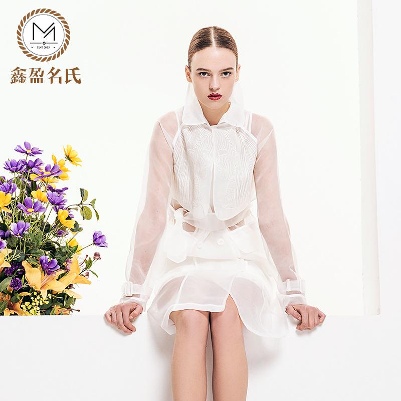 European and American high-end women's 2016 spring organza dress Europe