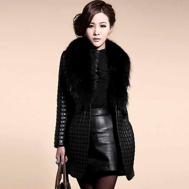 S-3xl 2015 мода женщин меха искусственной кожи пальто меховой воротник лиса теплое осень зима пальто длиной парки верхняя одежда Q1065
