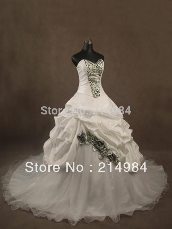 Fashion Strapless Sweetheart White Ivory Taffeta Organza Wedding Dress Bridal Gown With Leopard