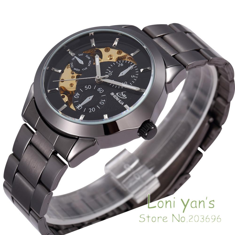 SHENHUA Cool Fashion Mens Skeleton Auto-Mechanical Stainless Steel Wrist Watch Analog Wristwatch Free Ship<br><br>Aliexpress