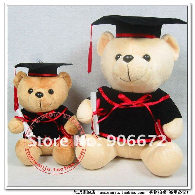 Graduation Gift teddy bear Bachelor of clothes plush toys 30cm free shipping children toys TV&MOVIE