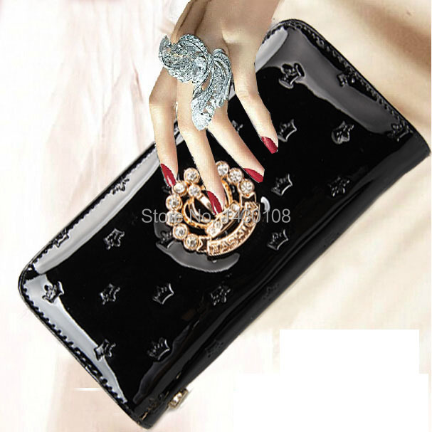 2016 designer new fashion women wallets famous luxury brand top quality pu leather Rhinestone lady purse long black red wallet(China (Mainland))