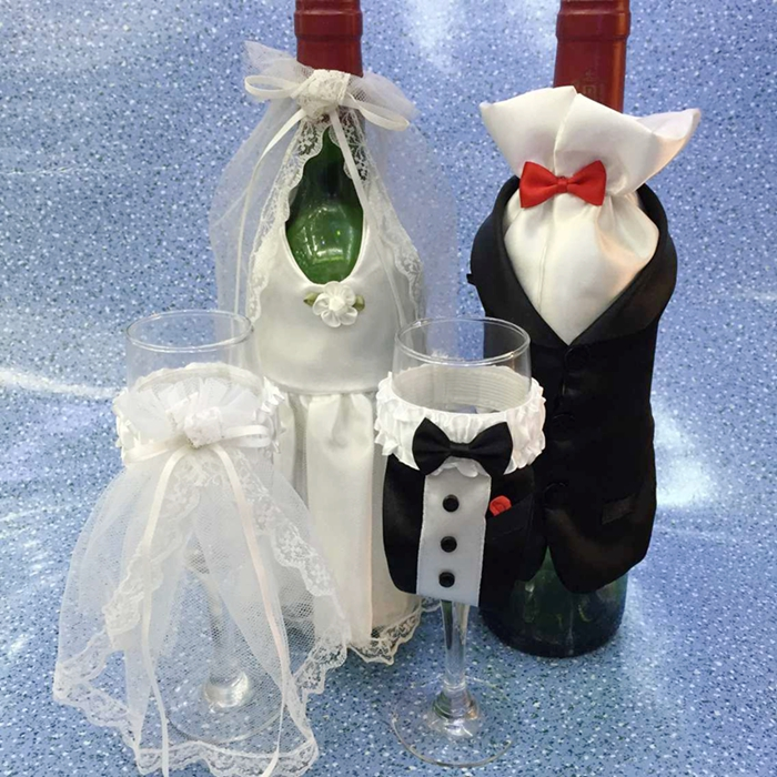 Wedding Gift Party Decoration Wedding Supplies Wine Bottle Sleeve Cup Bride Groom Full Dress Party Valentine's Day Gift(China (Mainland))