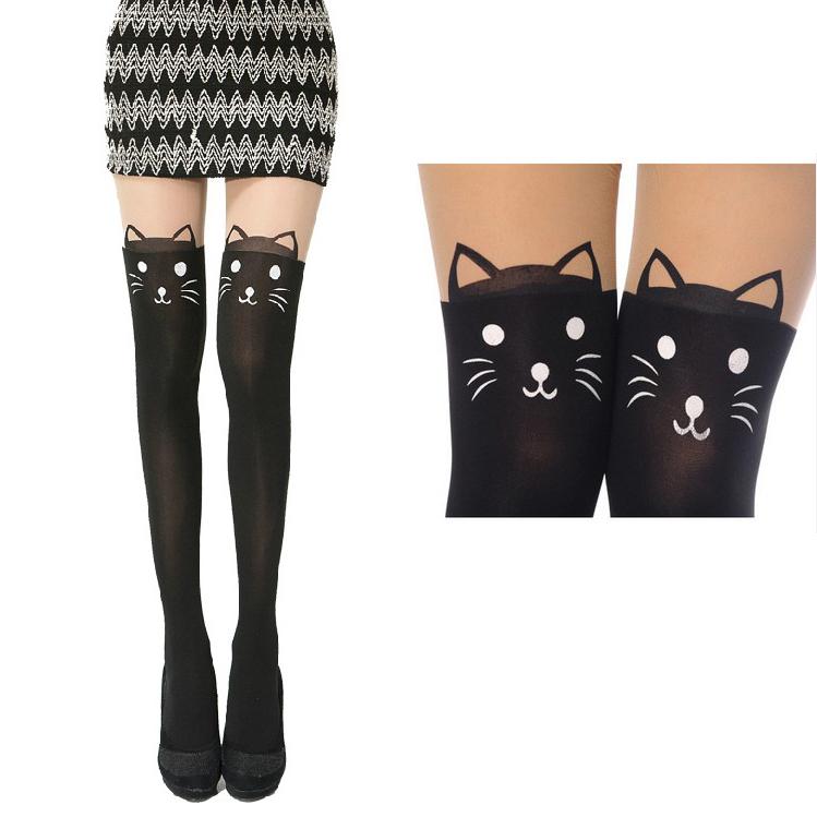 1pair Cute Mock Knee Hosiery Cat Bunny Bear Tattoo Tail Gipsy Pantyhose Legging Free / Drop Shipping(China (Mainland))