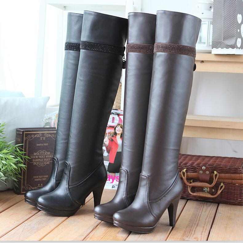 ENMAYER new boots fashion high heels knee boots women shoes PU leather designer sexy boots Rhinestone decoration long boots(China (Mainland))